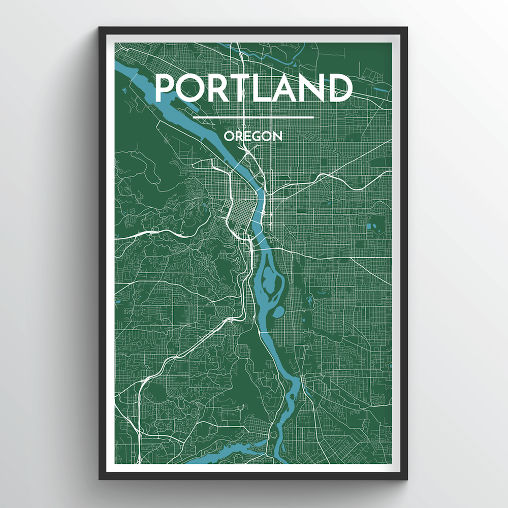 Portland - Oregon City Map Art Print - Point Two Design