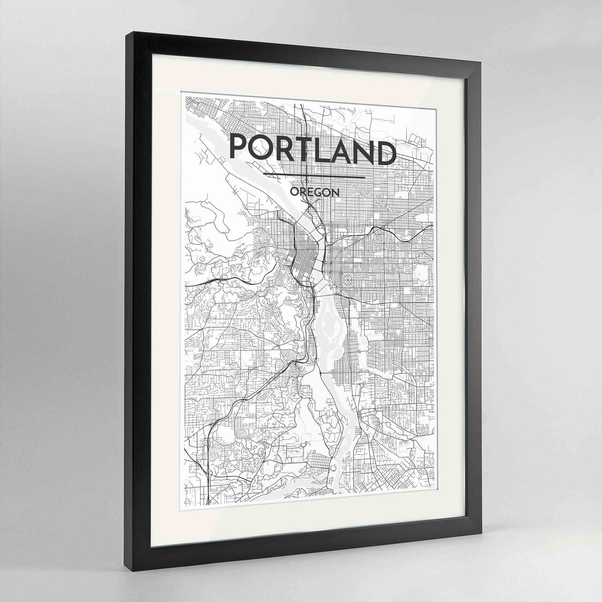 "Framed Portland - Oregon Map Art Print 24x36"" Contemporary Black frame Point Two Design Group"