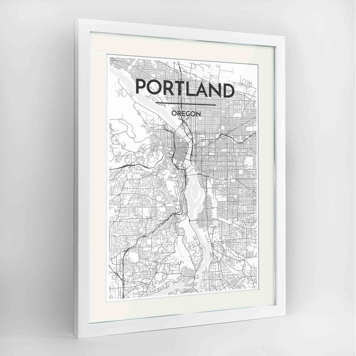 "Framed Portland - Oregon Map Art Print 24x36"" Contemporary White frame Point Two Design Group"