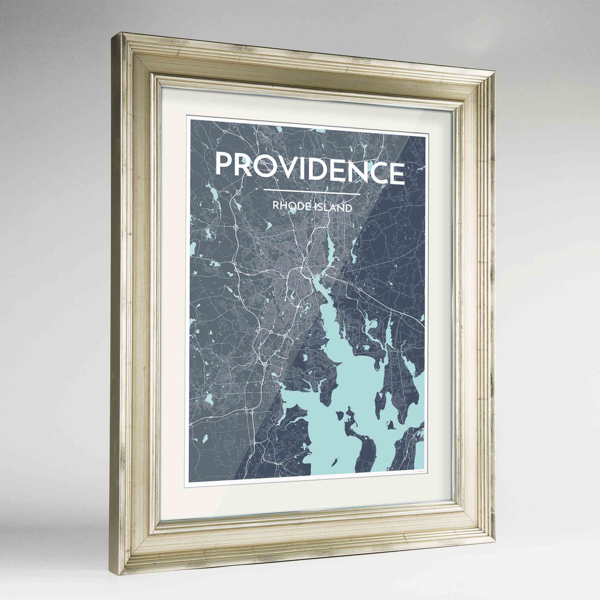 "Framed Providence Map Art Print 24x36"" Champagne frame Point Two Design Group"
