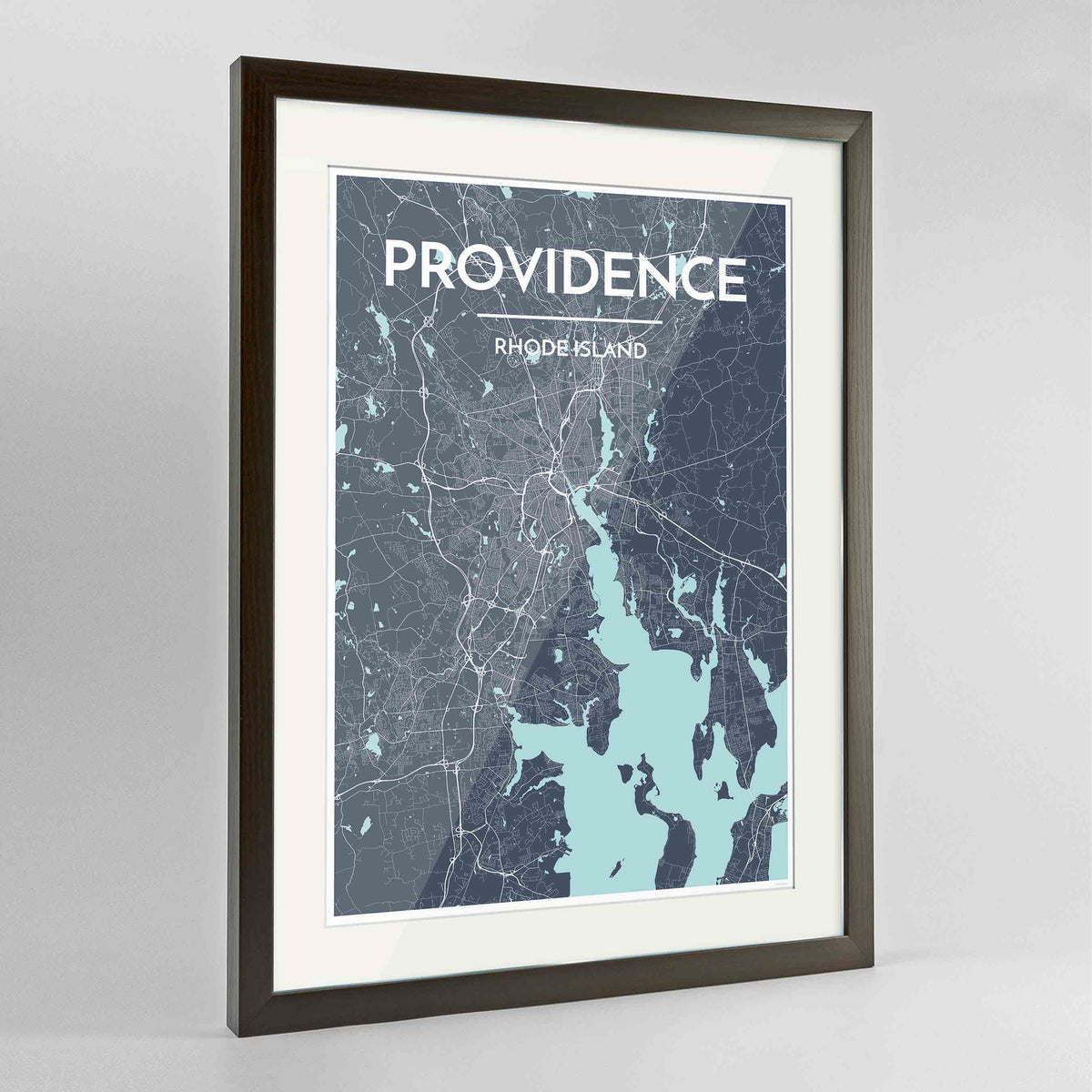 "Framed Providence Map Art Print 24x36"" Contemporary Walnut frame Point Two Design Group"