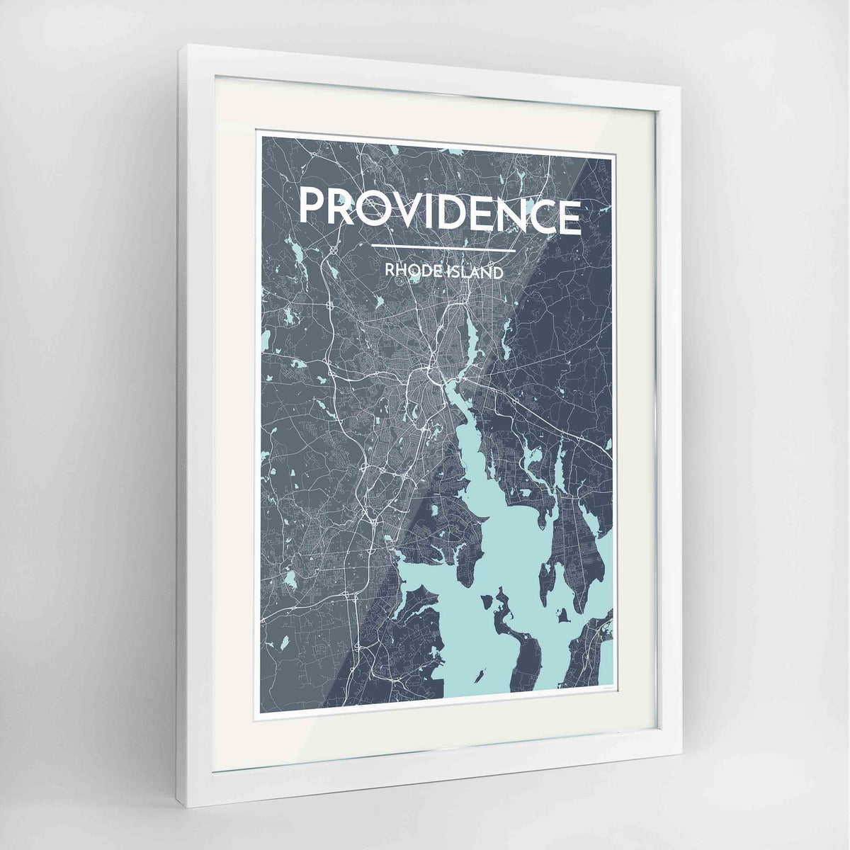 "Framed Providence Map Art Print 24x36"" Contemporary White frame Point Two Design Group"