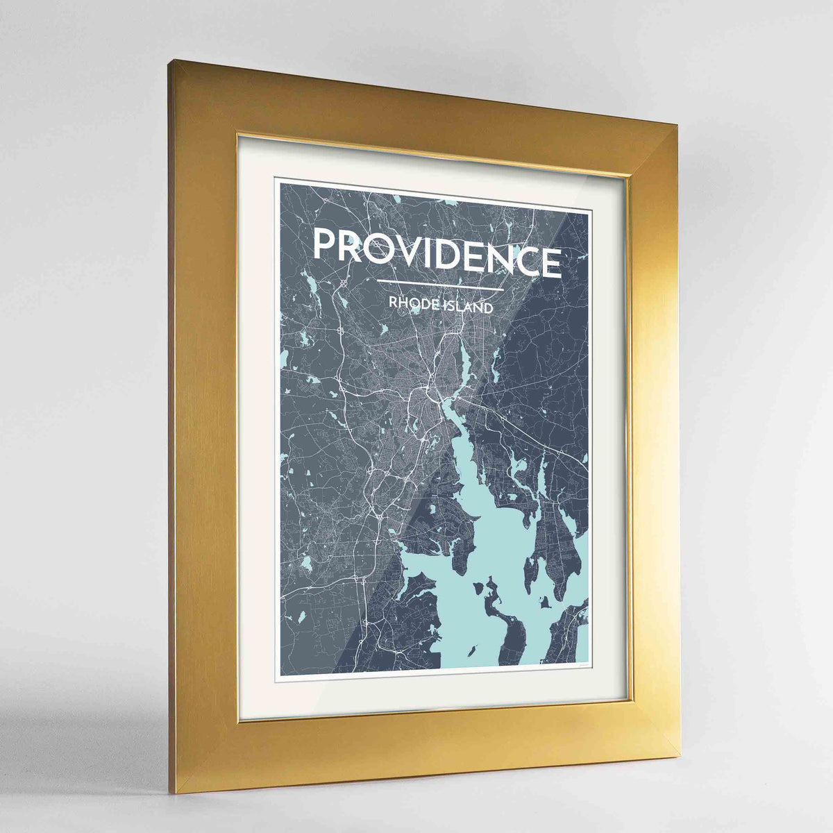 "Framed Providence Map Art Print 24x36"" Gold frame Point Two Design Group"
