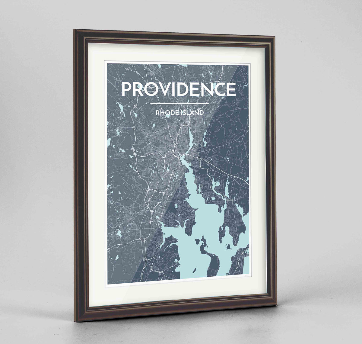 "Framed Providence Map Art Print 24x36"" Traditional Walnut frame Point Two Design Group"