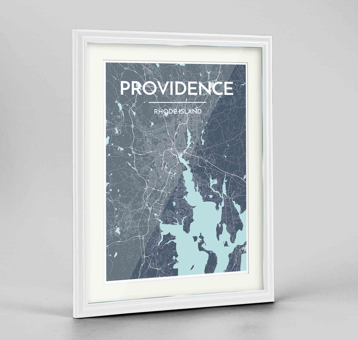 "Framed Providence Map Art Print 24x36"" Traditional White frame Point Two Design Group"