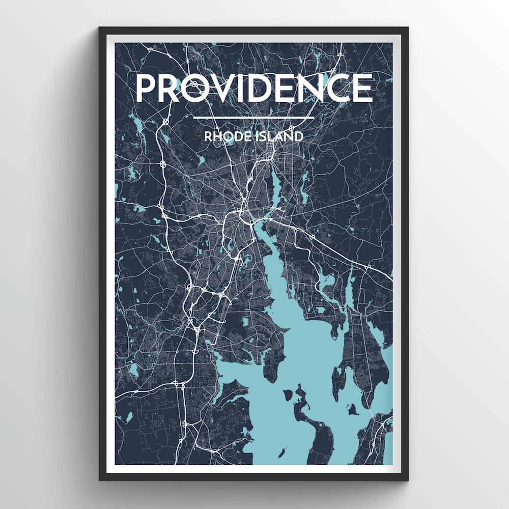Providence City Map Art Print - Point Two Design