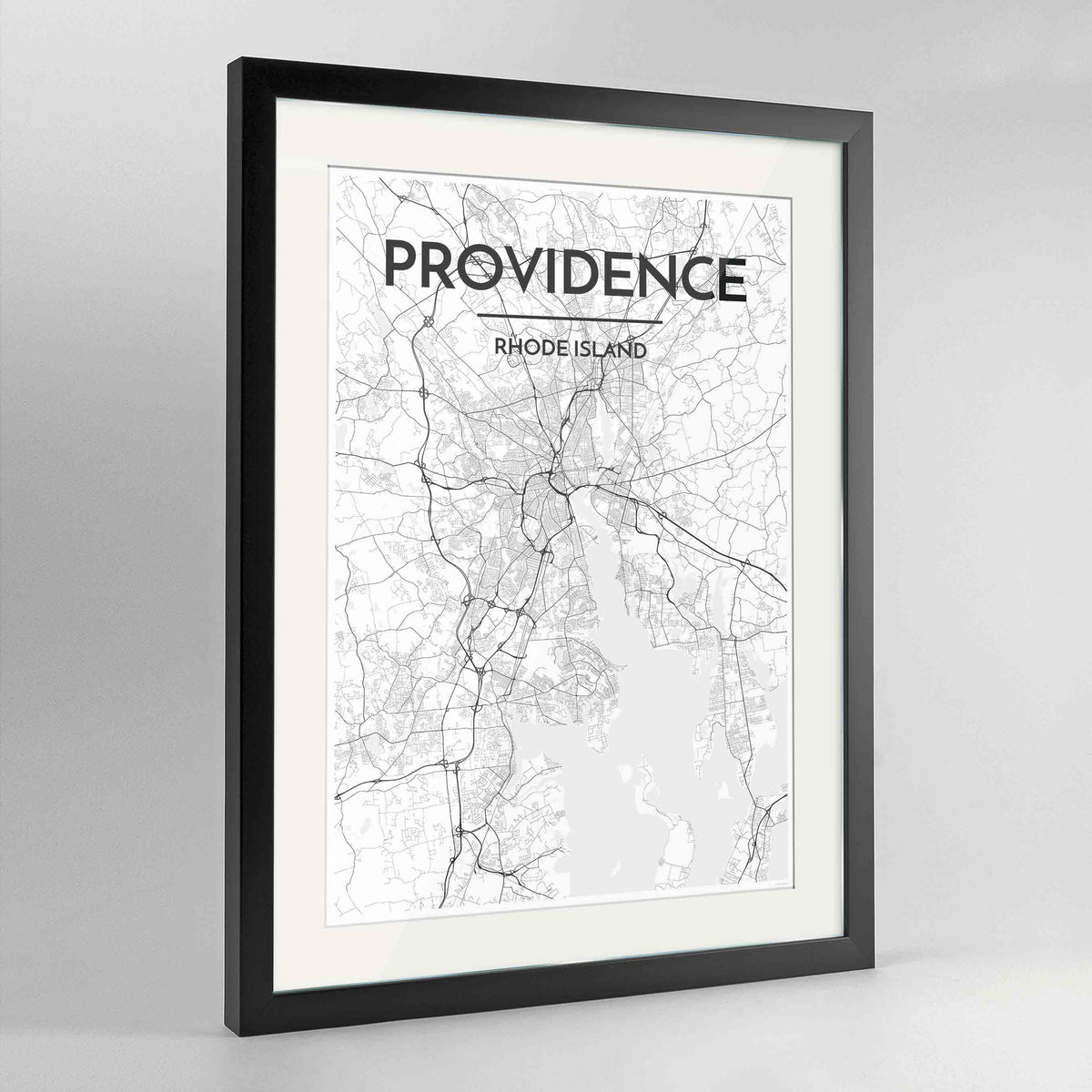 "Framed Providence Map Art Print 24x36"" Contemporary Black frame Point Two Design Group"