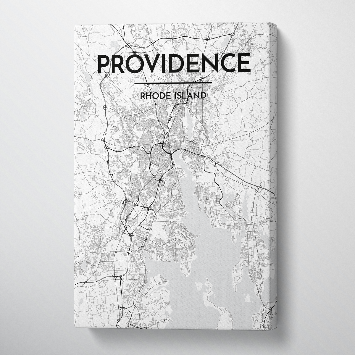 Providence Map Art - Canvas Wrap