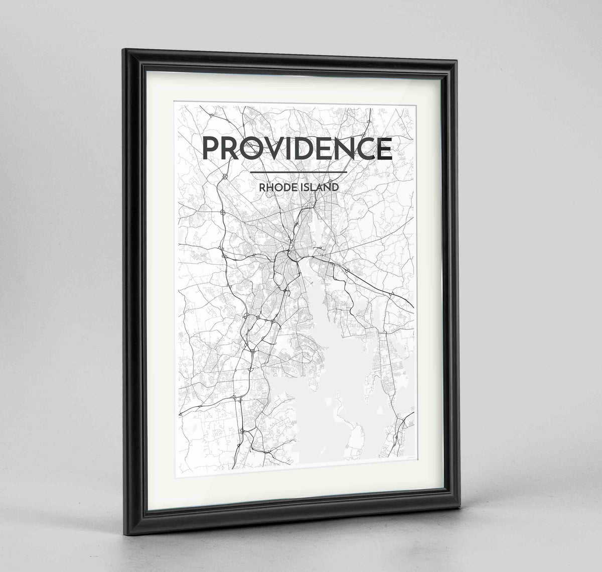 "Framed Providence Map Art Print 24x36"" Traditional Black frame Point Two Design Group"