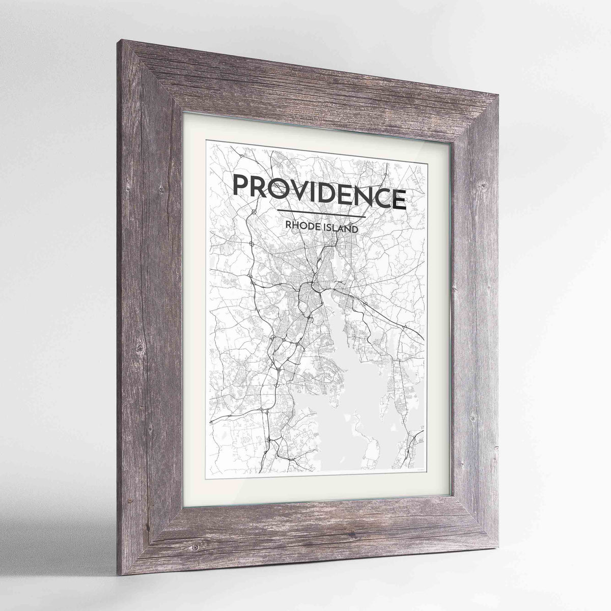 "Framed Providence Map Art Print 24x36"" Western Grey frame Point Two Design Group"