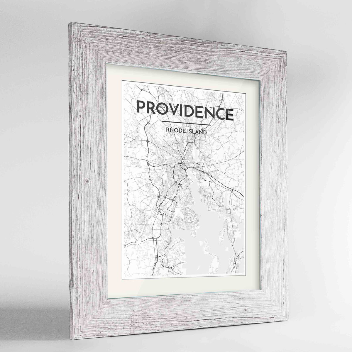 "Framed Providence Map Art Print 24x36"" Western White frame Point Two Design Group"