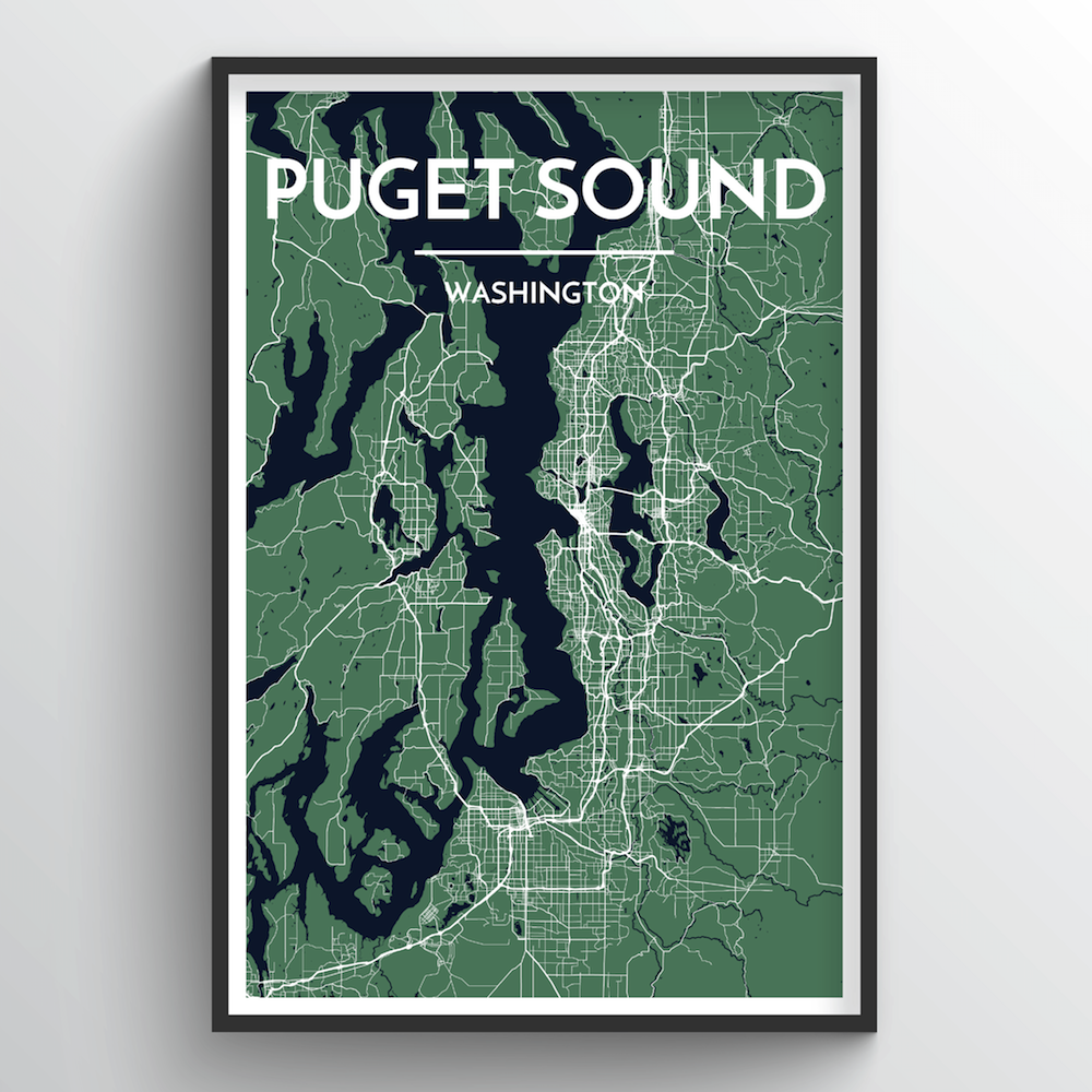 Puget Sound City Map Art Print - Point Two Design