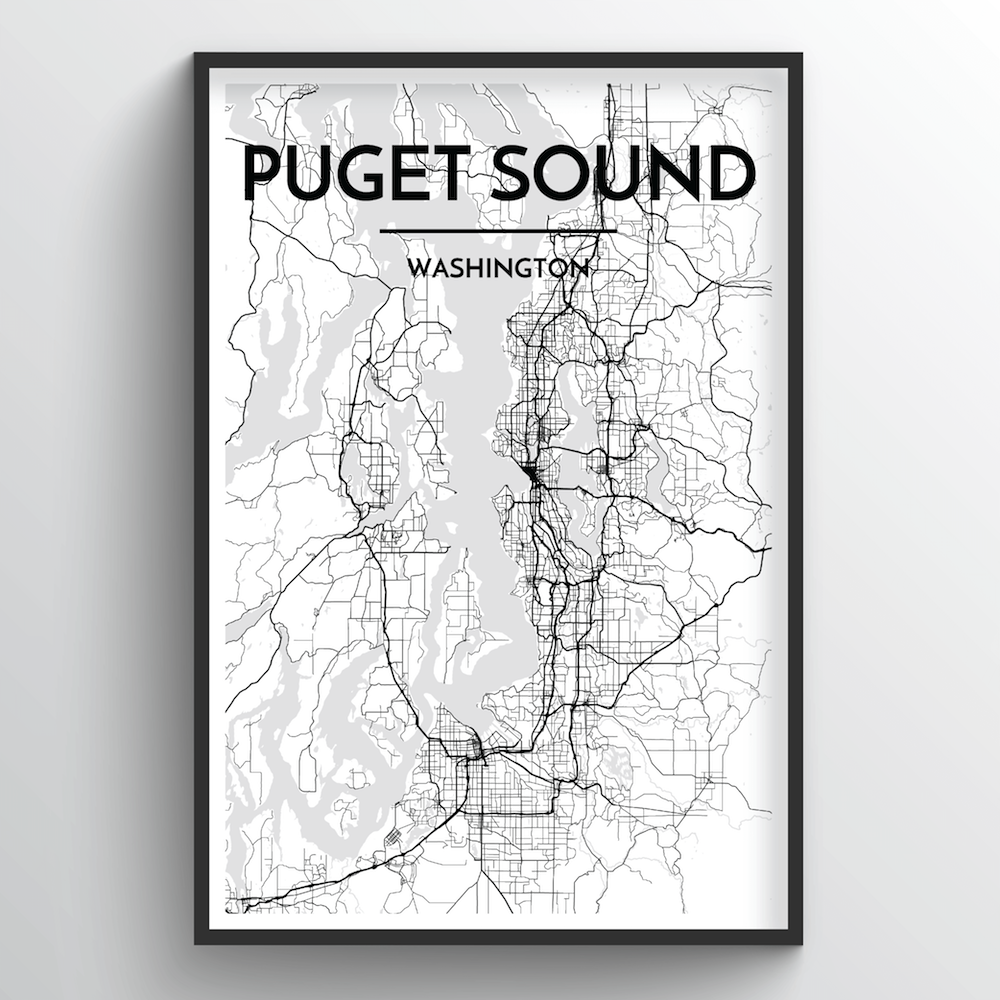 Puget Sound Map Art Print - Point Two Design