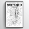 Puget Sound City Map Art Print - Point Two Design - Black & White Print