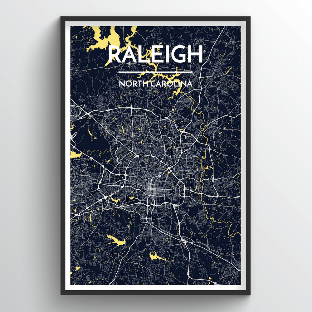 Raleigh City Map Art Print - Point Two Design