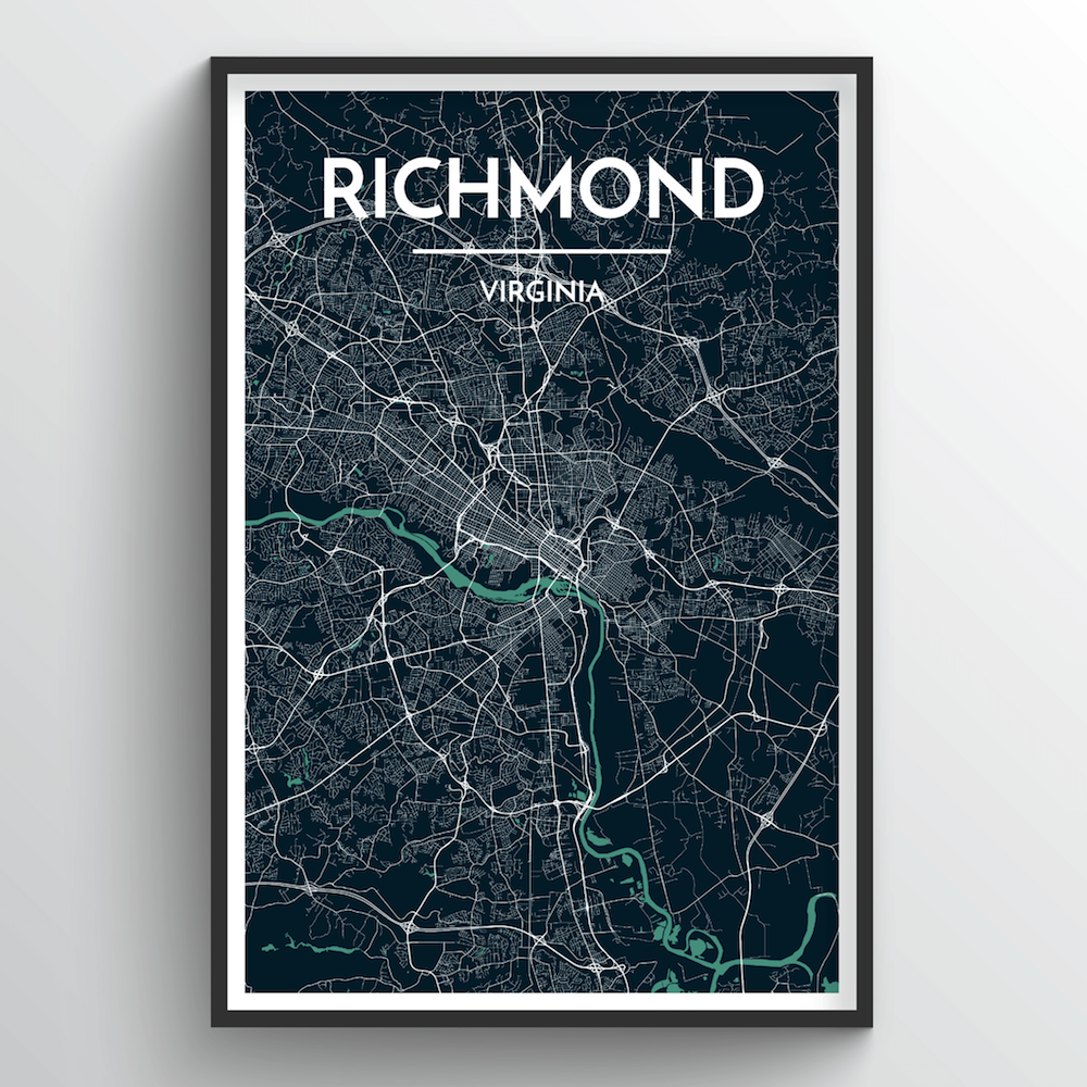 Richmond City Map Art Print - Point Two Design