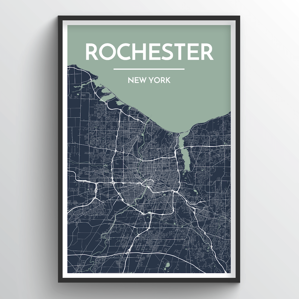 Rochester City Map Art Print - Point Two Design