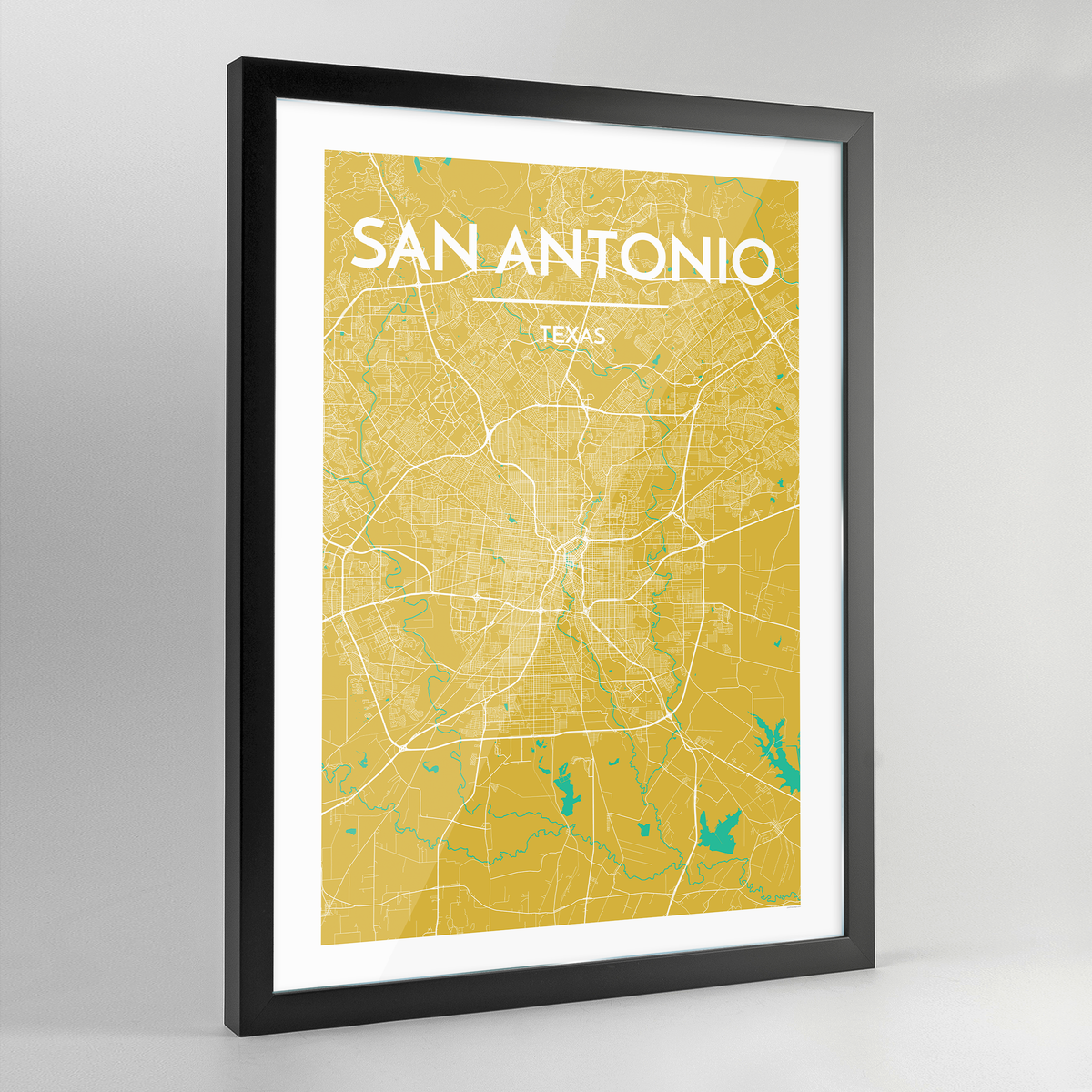 Framed San Antonio City Map Art Print - Point Two Design