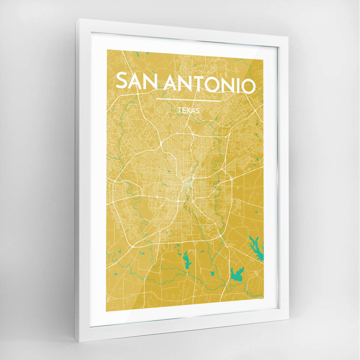 San Antonio Map Art Print - Framed