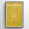 San Antonio City Map Art Print - Point Two Design