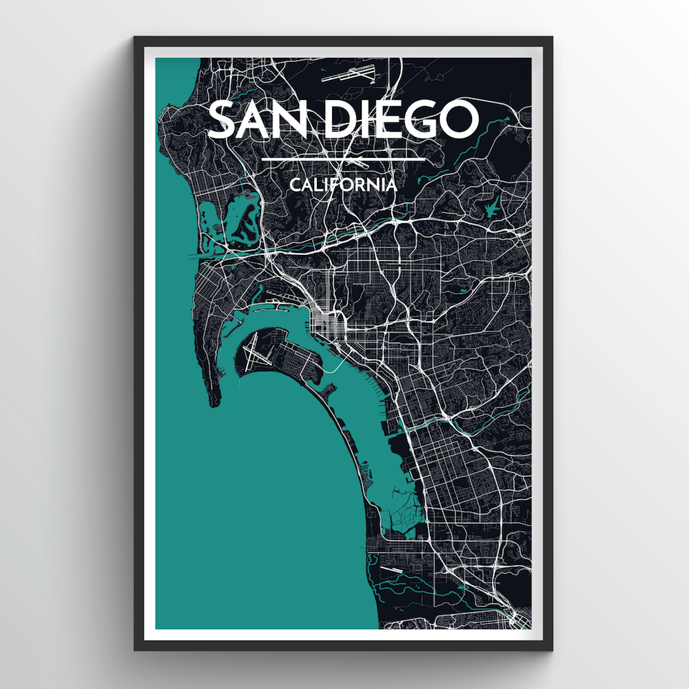 San Diego Map Art Print - Point Two Design