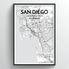San Diego City Map Art Print - Point Two Design