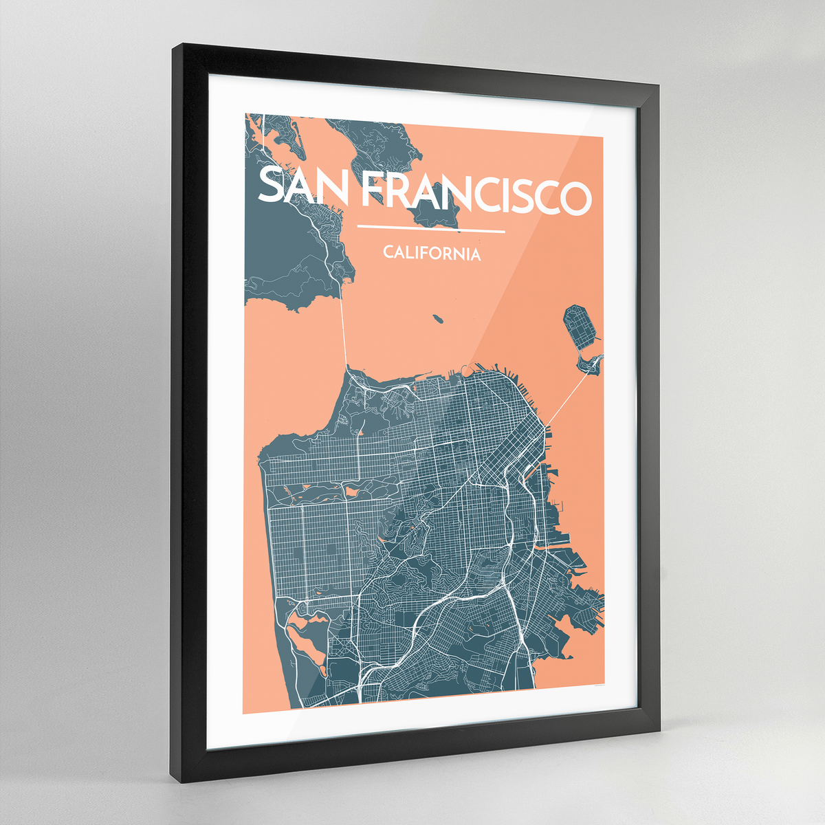 Framed San Francisco City Map Art Print - Point Two Design