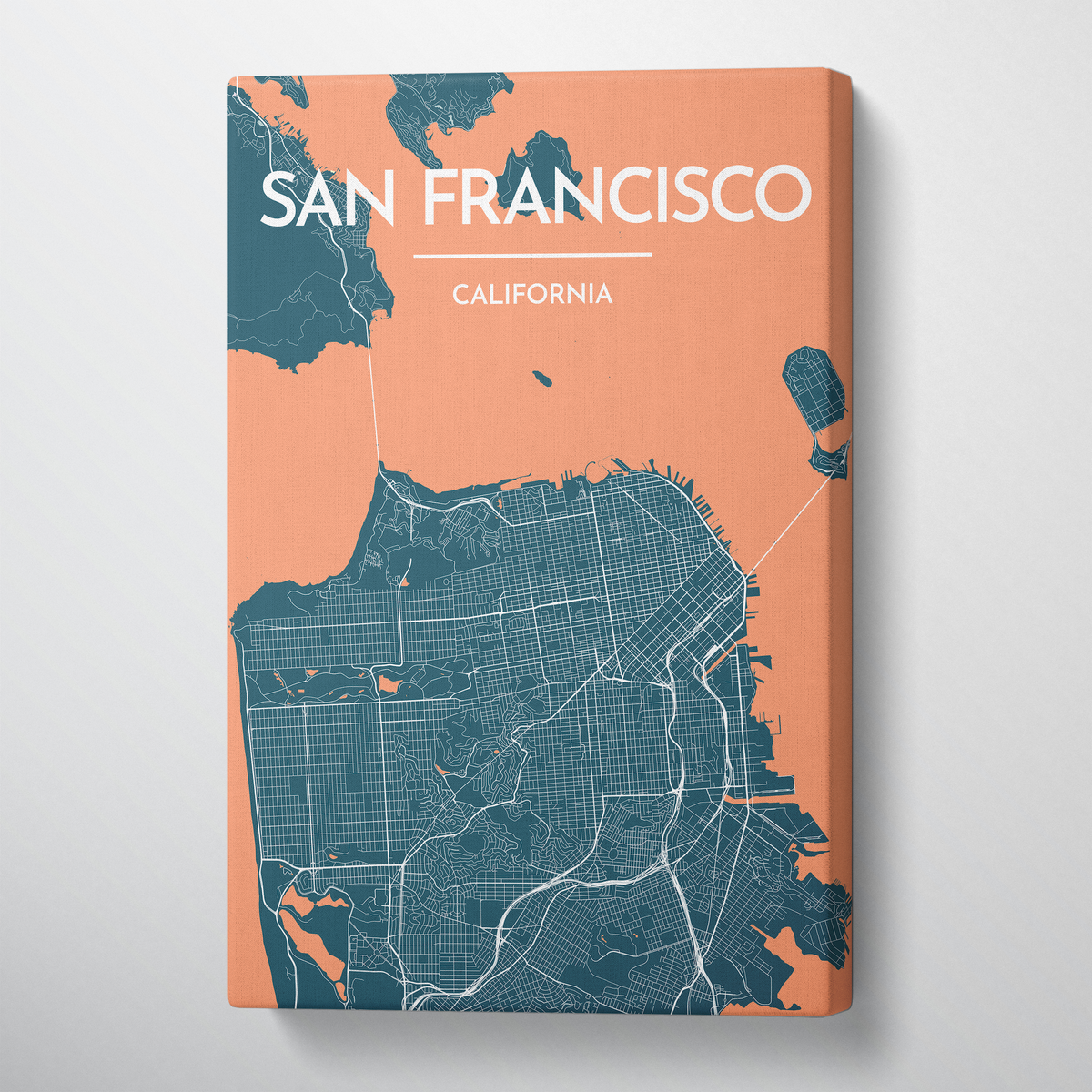 San Francisco City Map Canvas Wrap - Point Two Design
