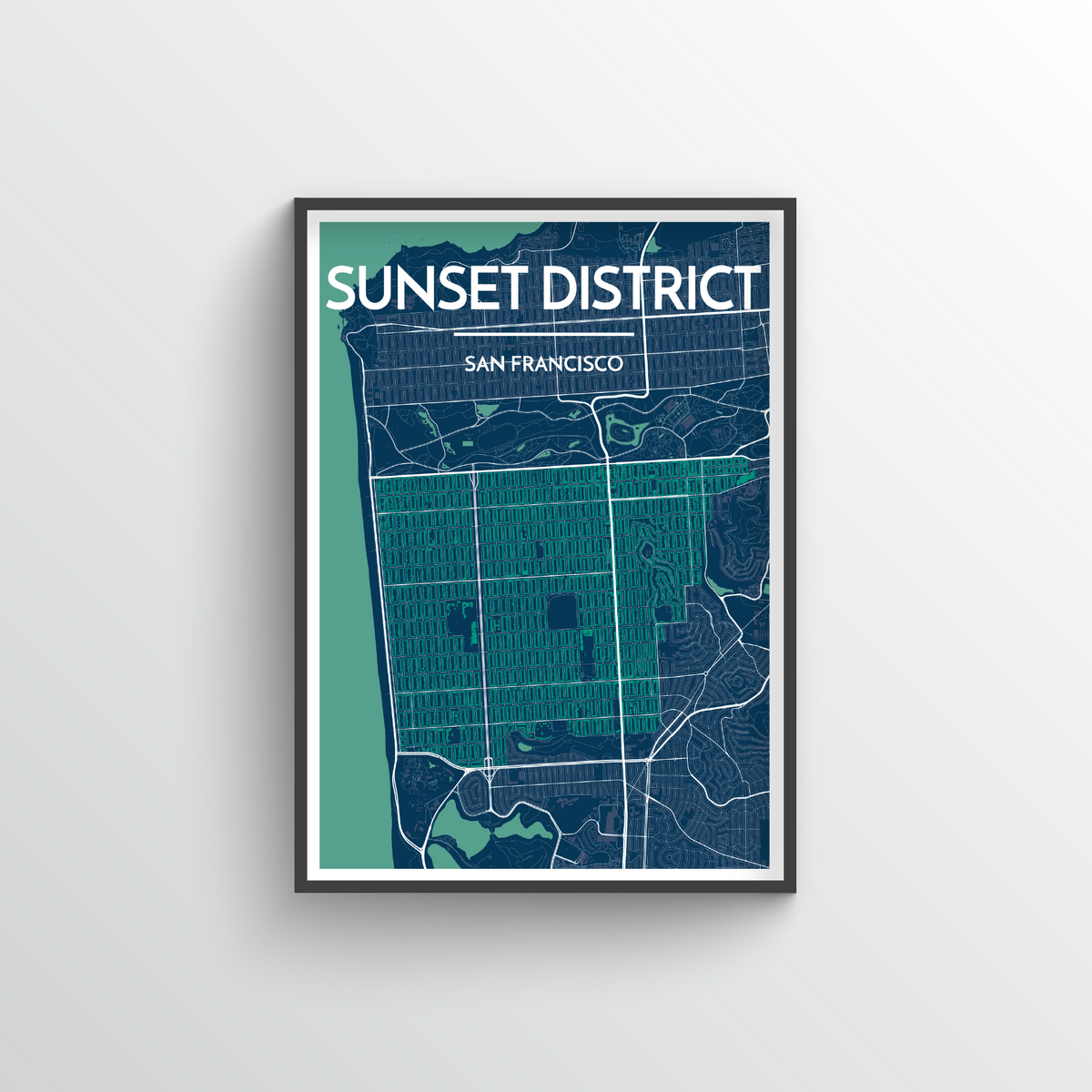 The Sunset District San Francisco Map Art Print - Point Two Design