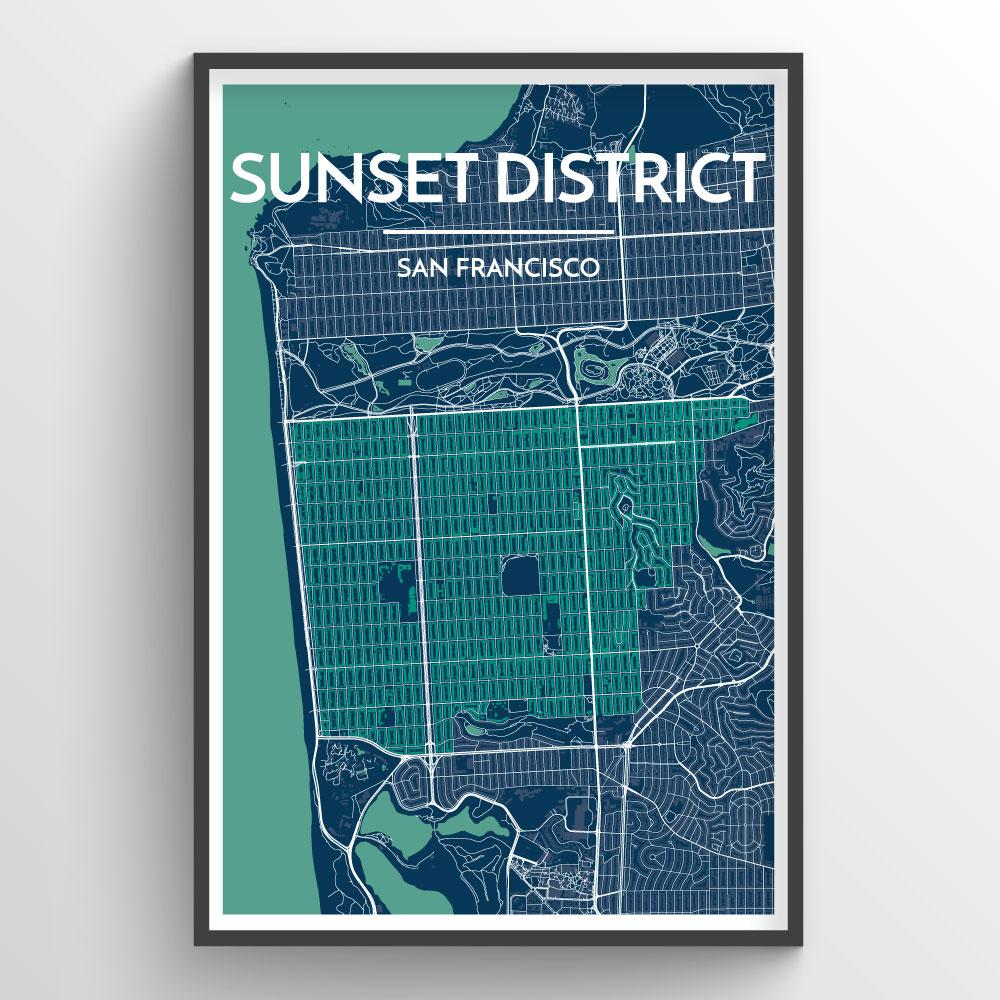 The Sunset District San Francisco City Map Art Print - Point Two Design