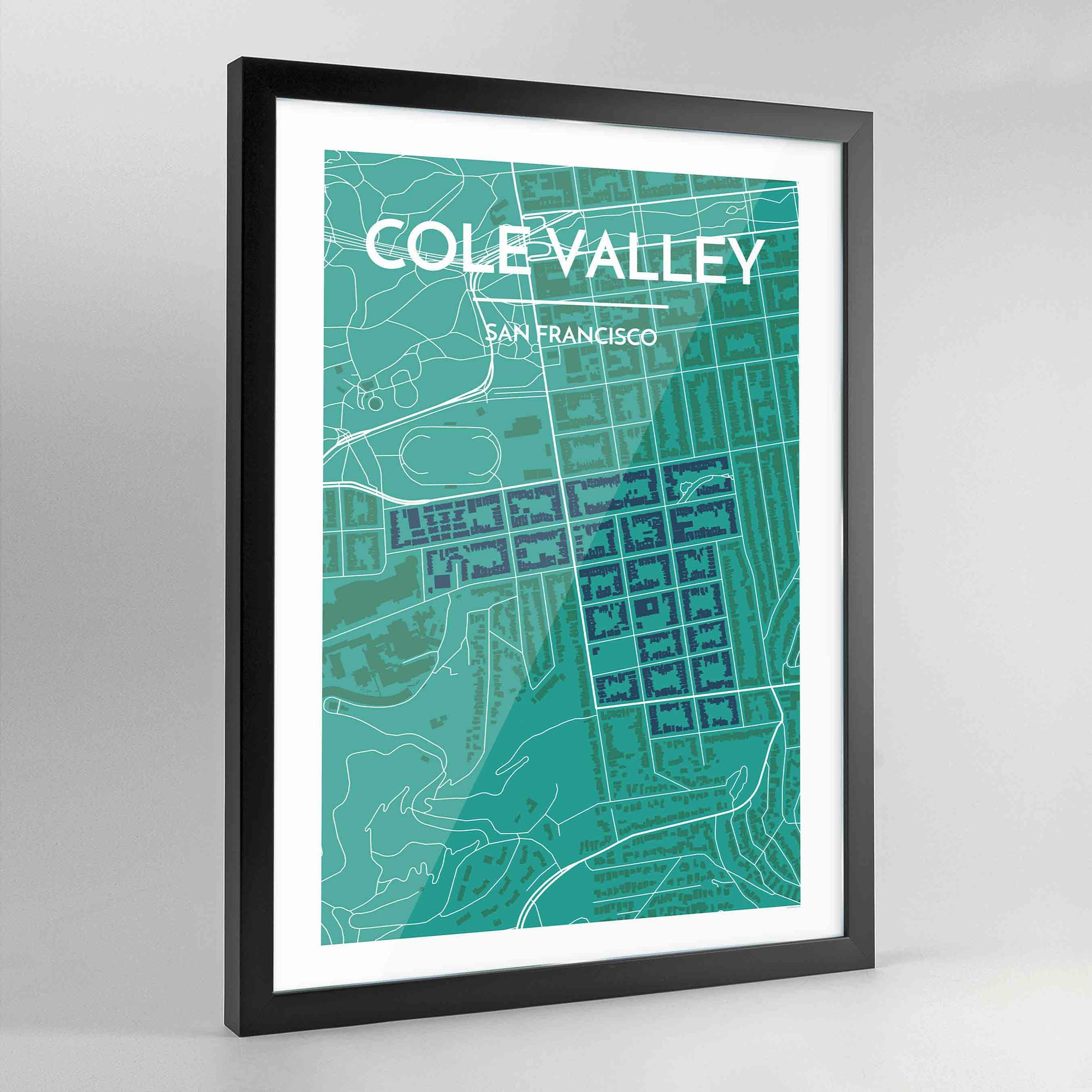 Framed Cole Valley San Francisco Map Art Print - Point Two Design