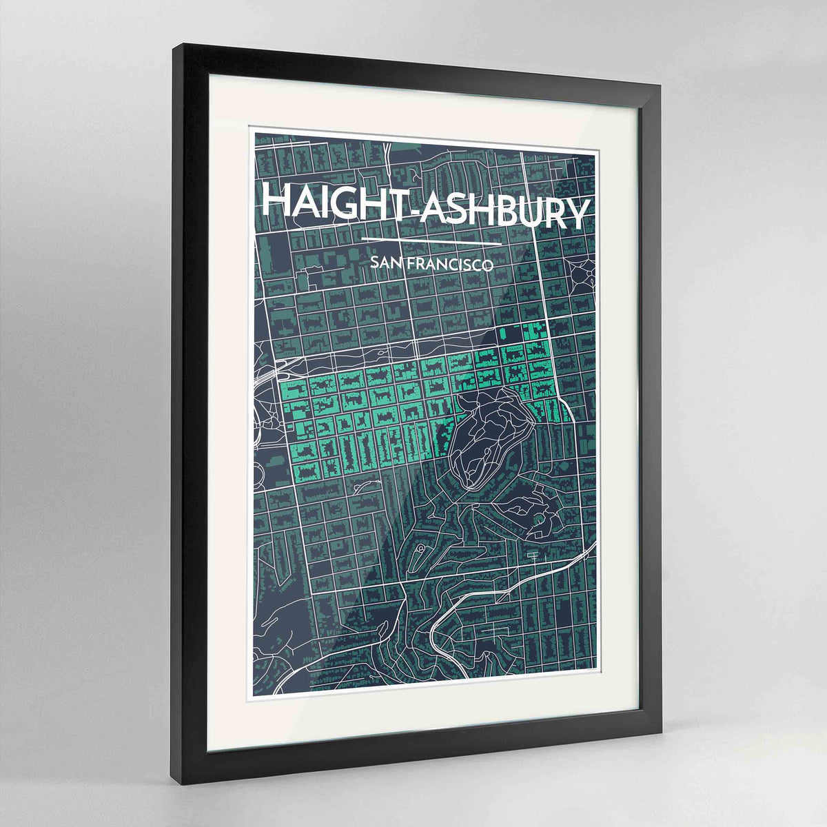 "Framed Haight-Ashbury San Francisco Map Art Print 24x36"" Contemporary Black frame Point Two Design Group"