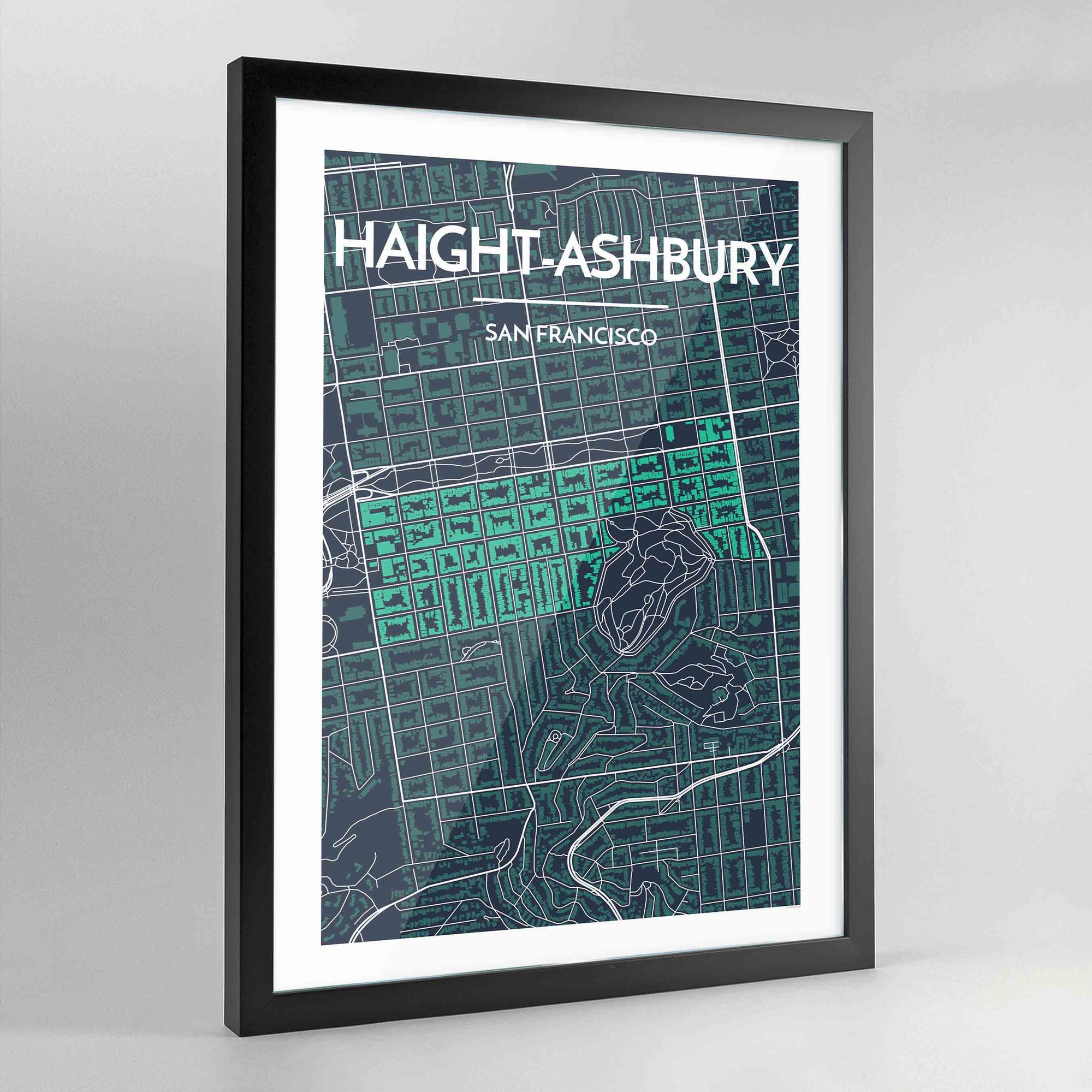 Framed Haight-Ashbury San Francisco City Map Art Print - Point Two Design
