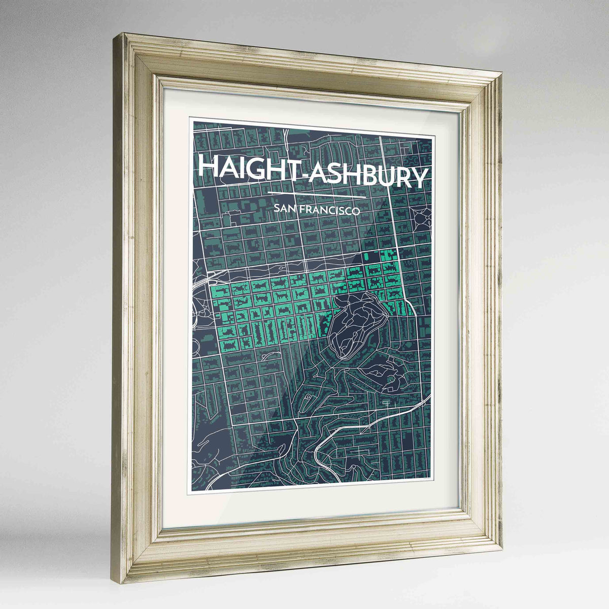 "Framed Haight-Ashbury San Francisco Map Art Print 24x36"" Champagne frame Point Two Design Group"