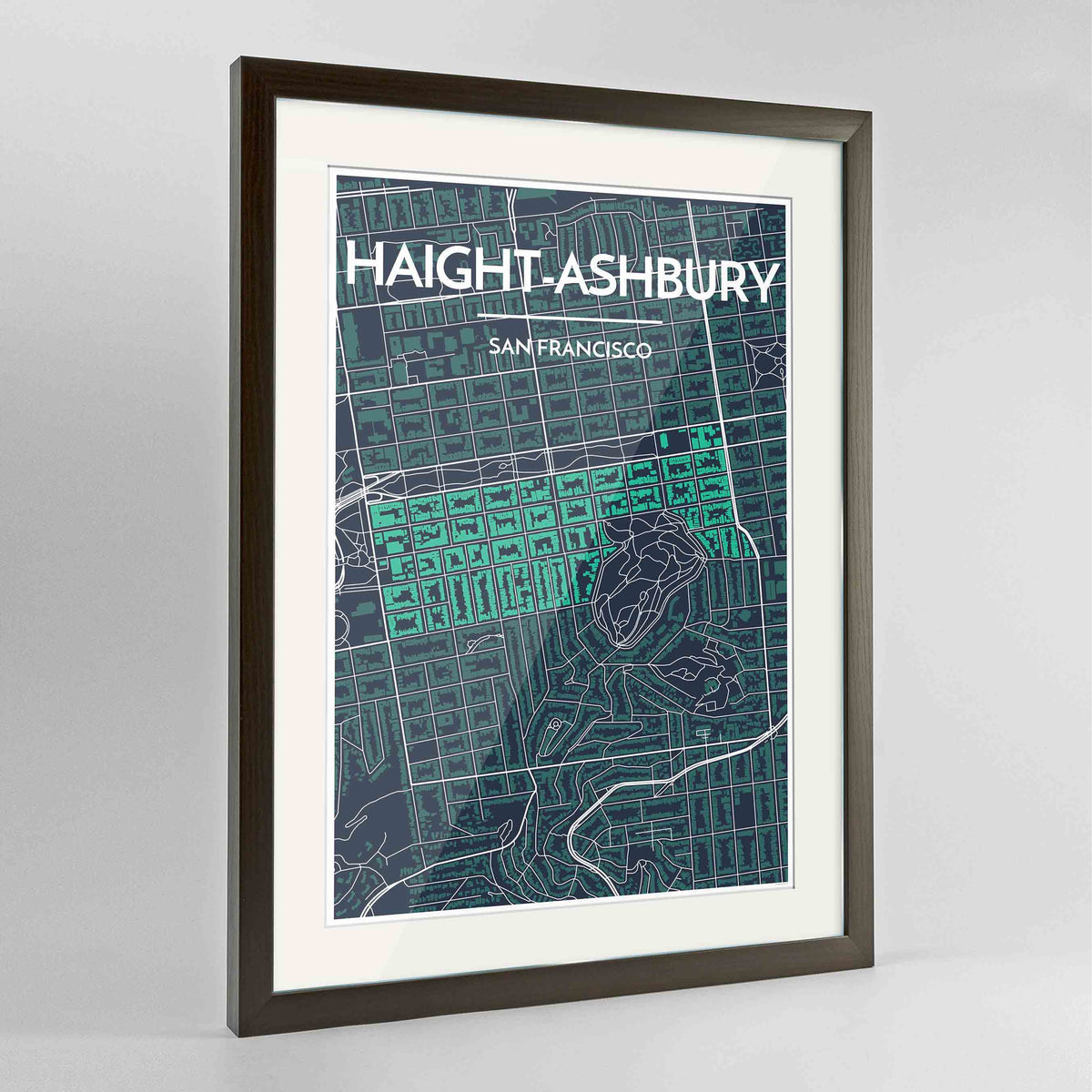 "Framed Haight-Ashbury San Francisco Map Art Print 24x36"" Contemporary Walnut frame Point Two Design Group"