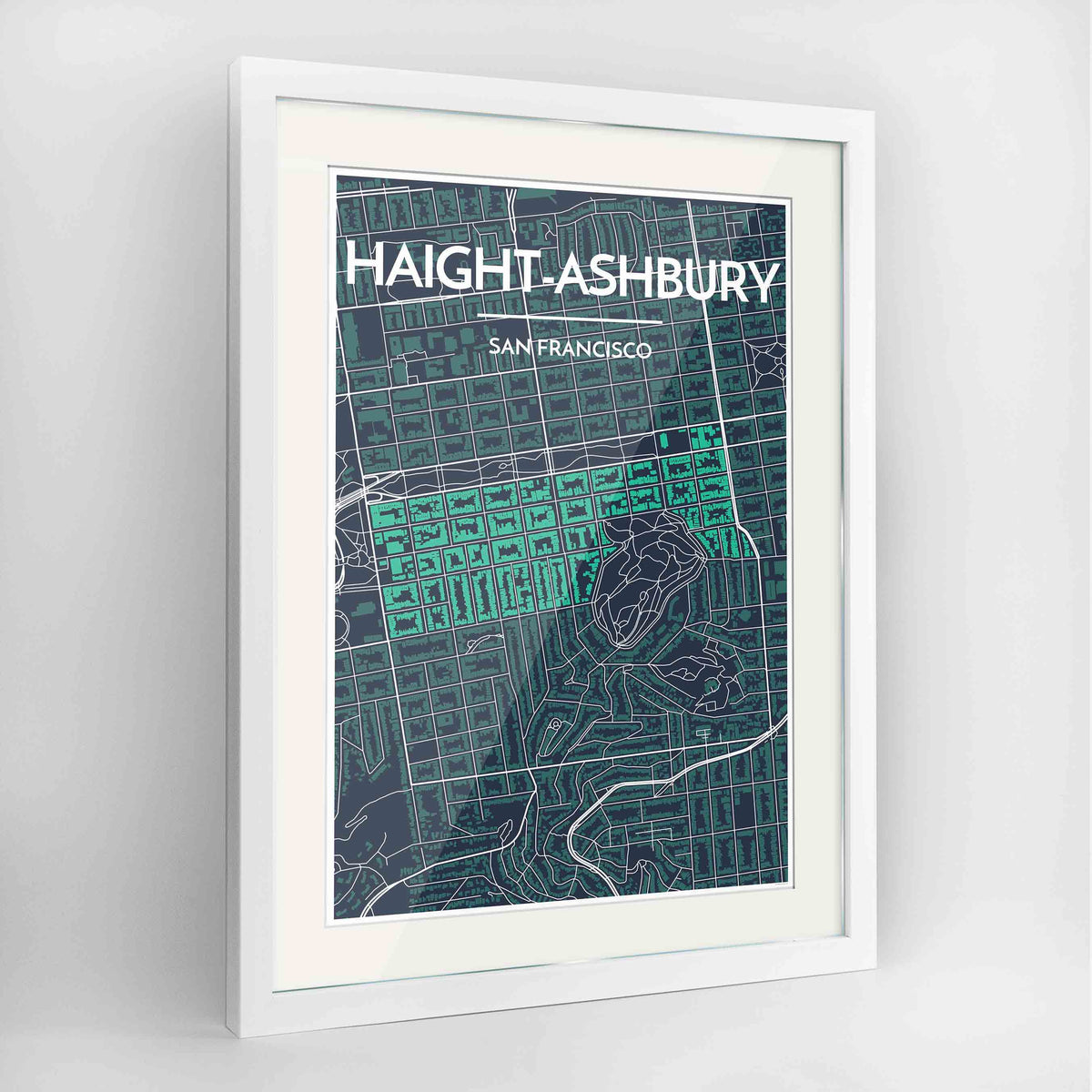 "Framed Haight-Ashbury San Francisco Map Art Print 24x36"" Contemporary White frame Point Two Design Group"