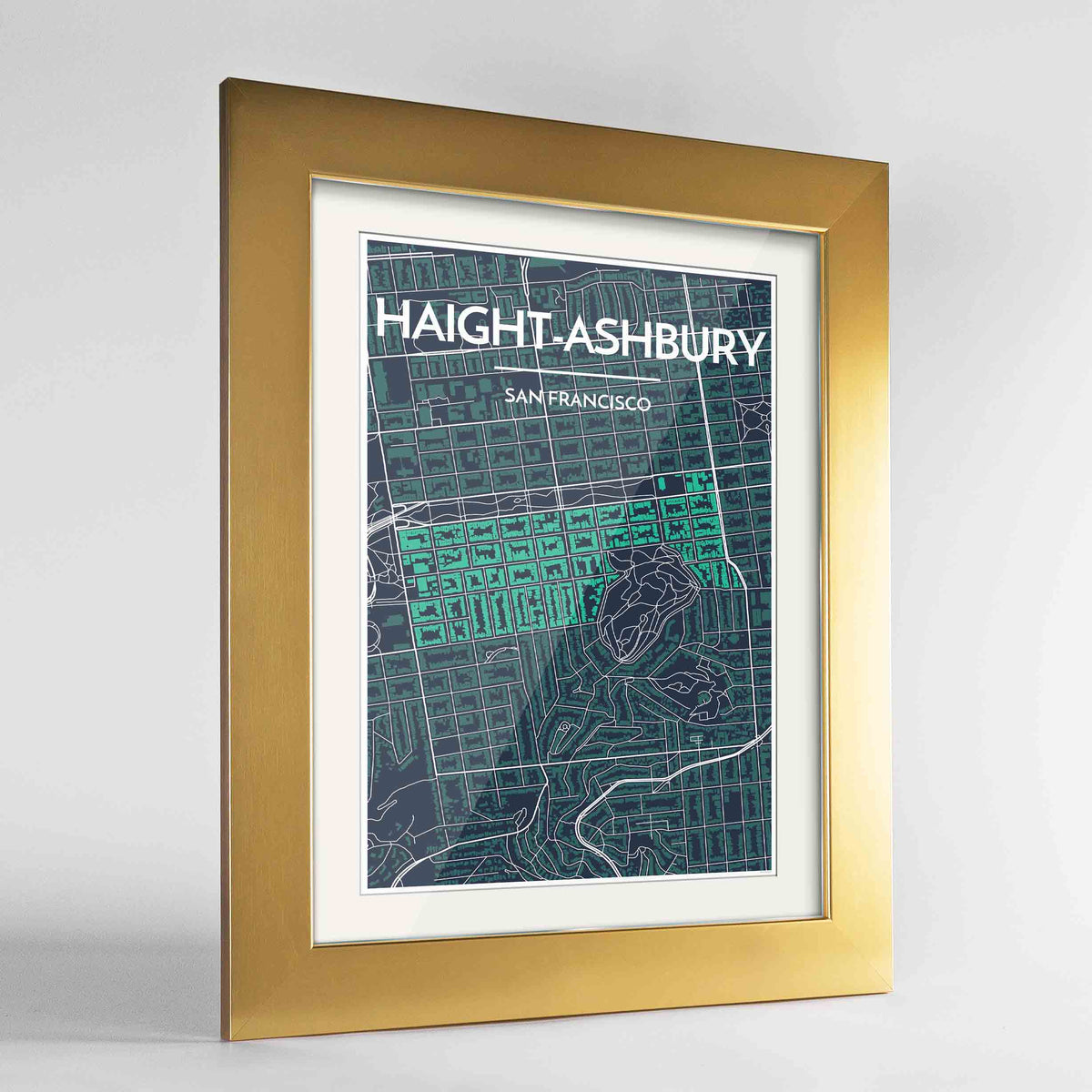 "Framed Haight-Ashbury San Francisco Map Art Print 24x36"" Gold frame Point Two Design Group"
