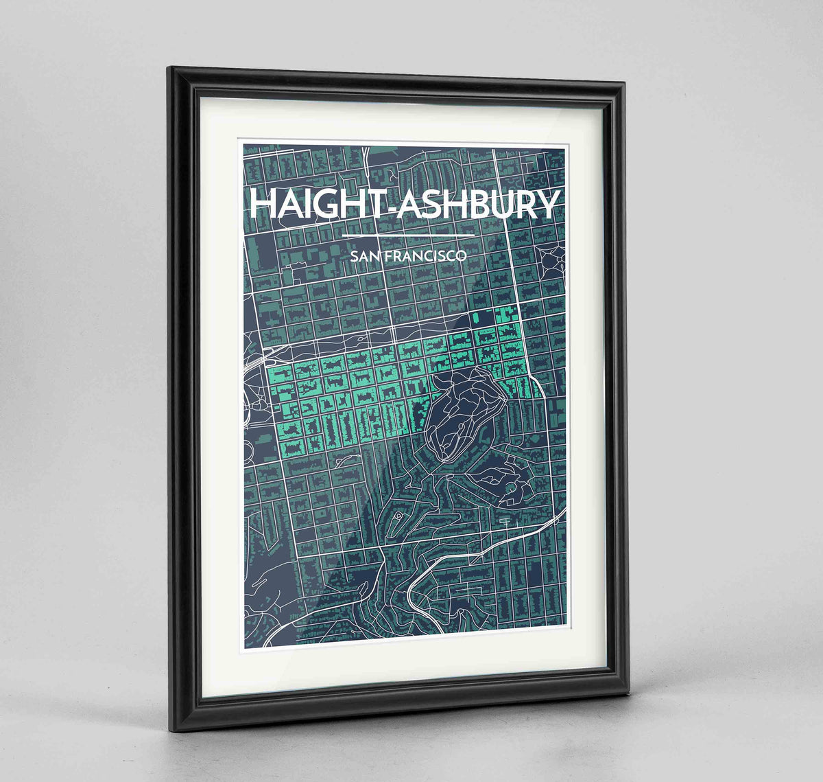"Framed Haight-Ashbury San Francisco Map Art Print 24x36"" Traditional Black frame Point Two Design Group"