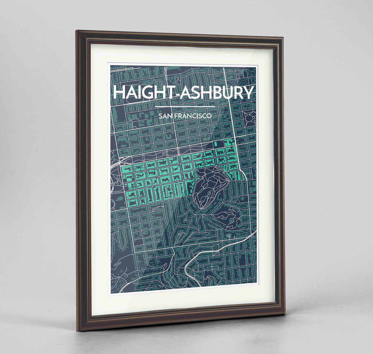 "Framed Haight-Ashbury San Francisco Map Art Print 24x36"" Traditional Walnut frame Point Two Design Group"