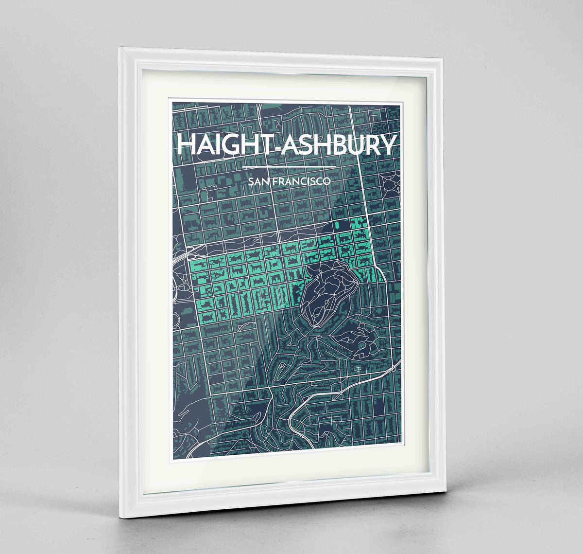 "Framed Haight-Ashbury San Francisco Map Art Print 24x36"" Traditional White frame Point Two Design Group"