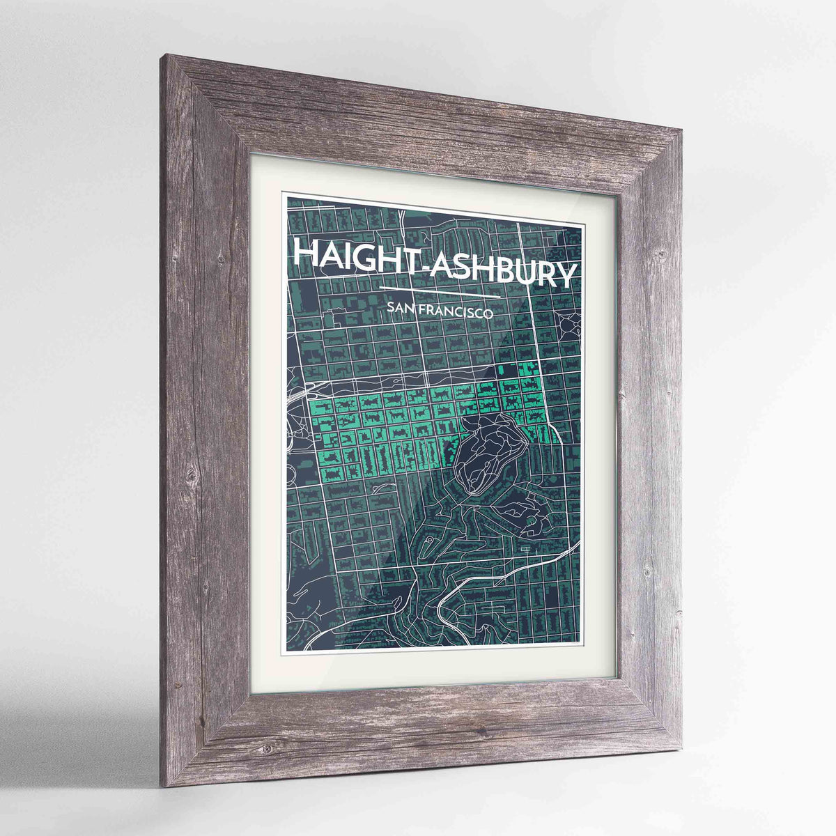 "Framed Haight-Ashbury San Francisco Map Art Print 24x36"" Western Grey frame Point Two Design Group"