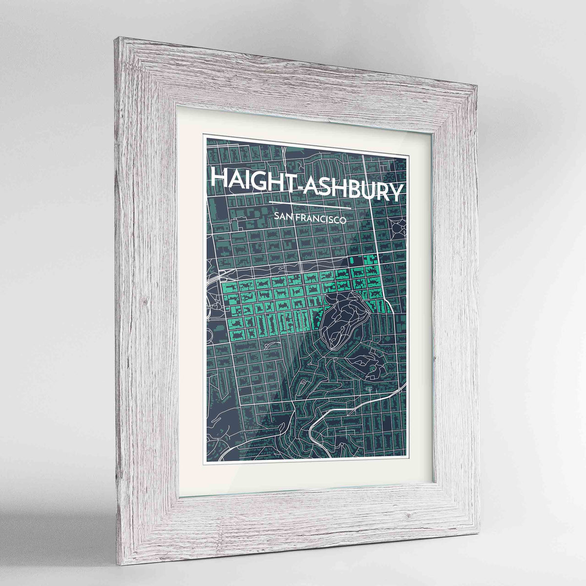 "Framed Haight-Ashbury San Francisco Map Art Print 24x36"" Western White frame Point Two Design Group"