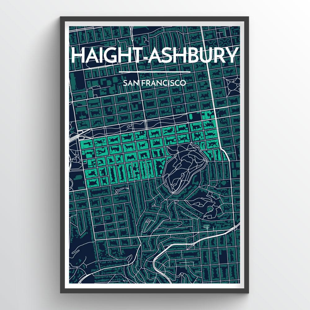 Haight-Ashbury San Francisco City Map Art Print - Point Two Design
