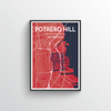 Potrero Hill San Francisco Map Art Print