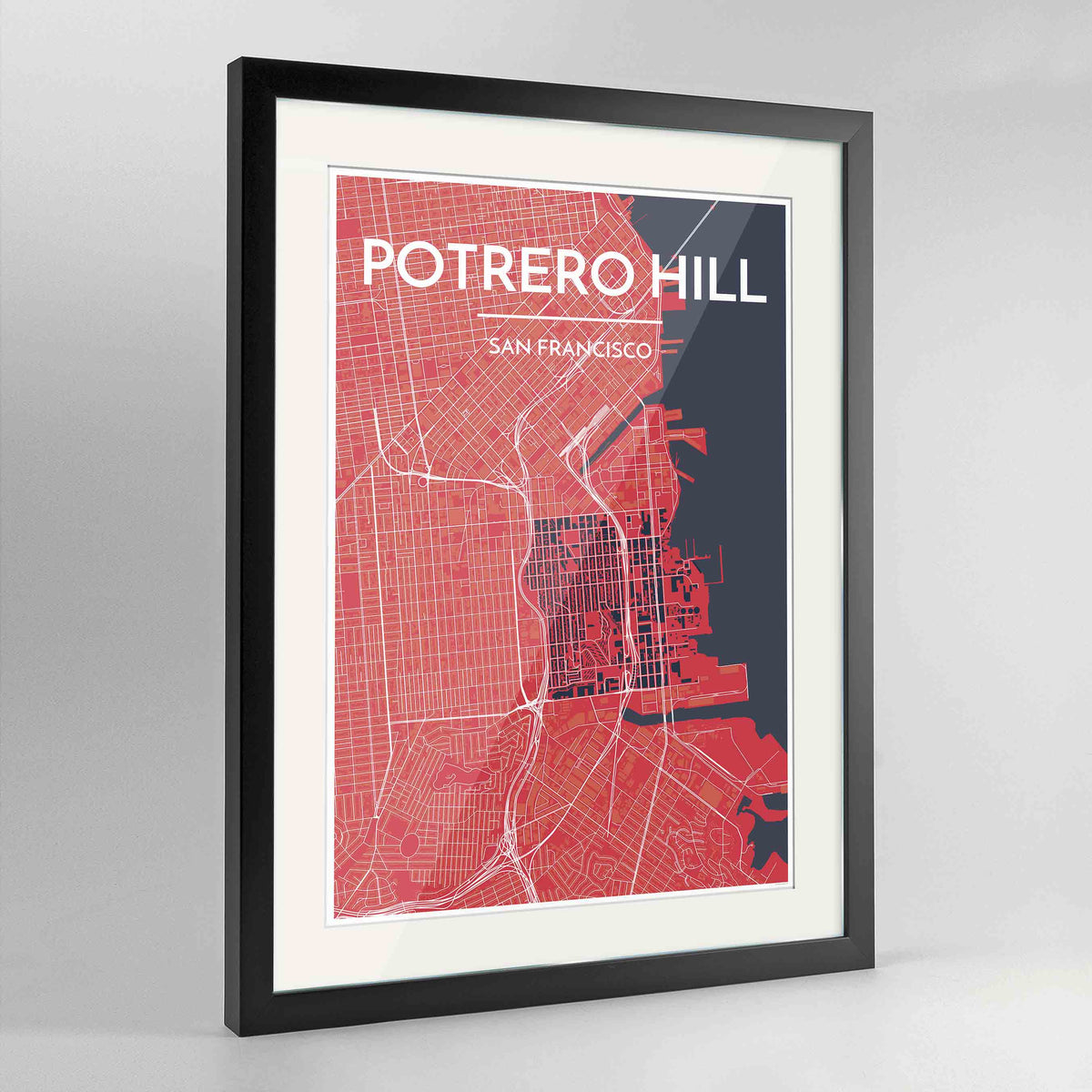 "Framed Potrero Hill San Francisco Map Art Print 24x36"" Contemporary Black frame Point Two Design Group"