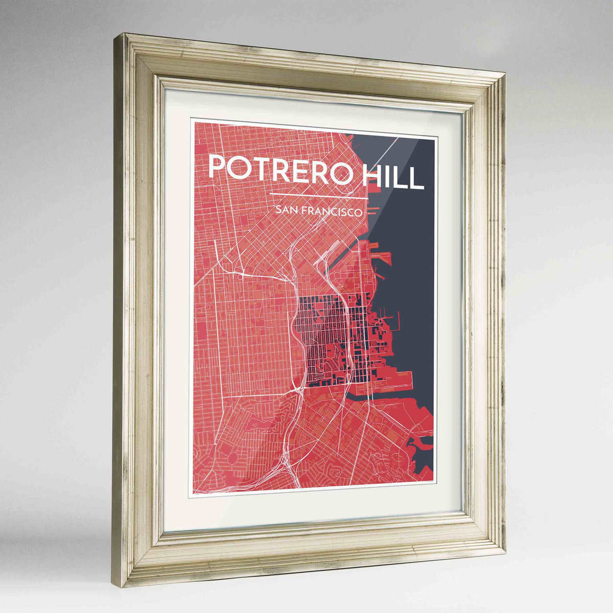 "Framed Potrero Hill San Francisco Map Art Print 24x36"" Champagne frame Point Two Design Group"