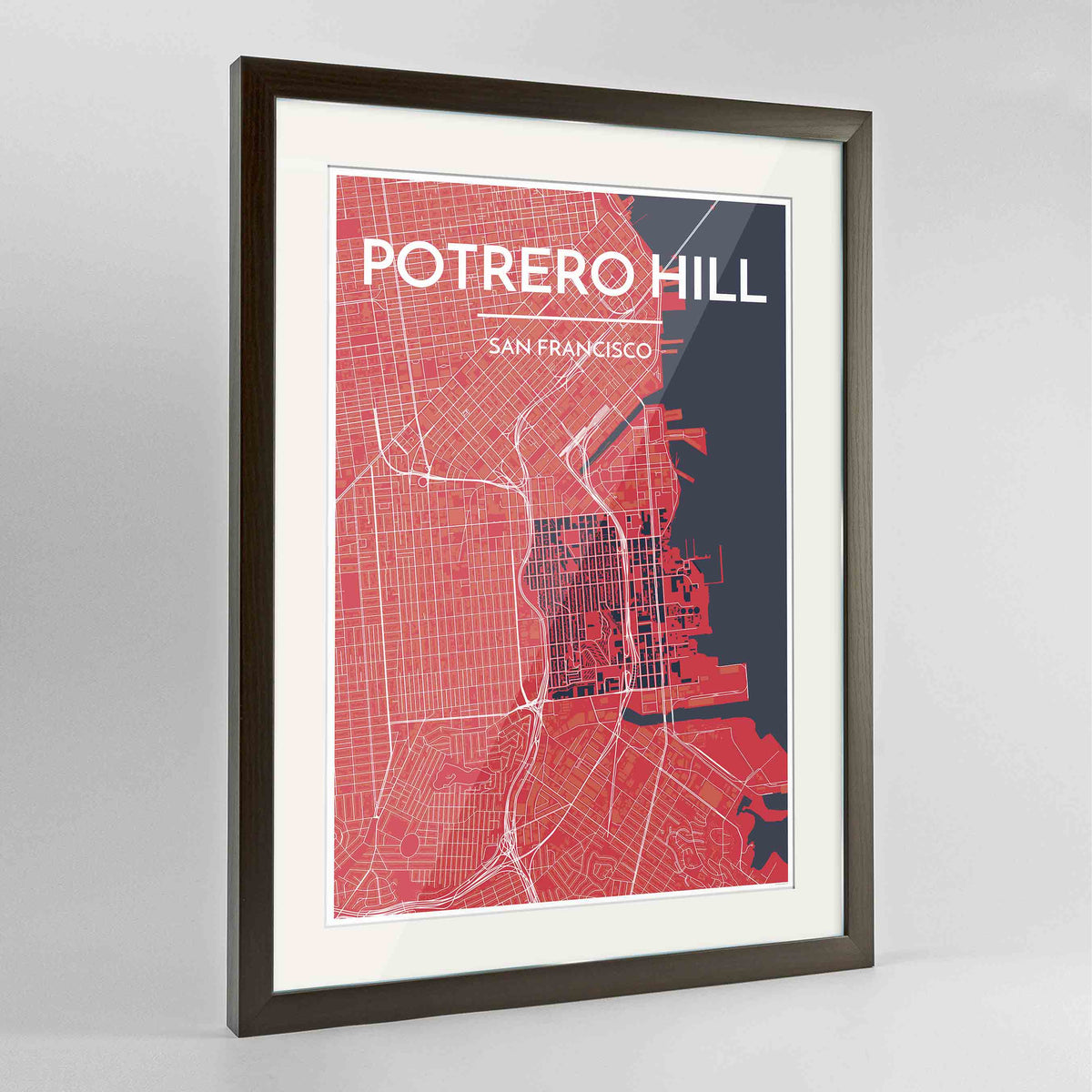 "Framed Potrero Hill San Francisco Map Art Print 24x36"" Contemporary Walnut frame Point Two Design Group"
