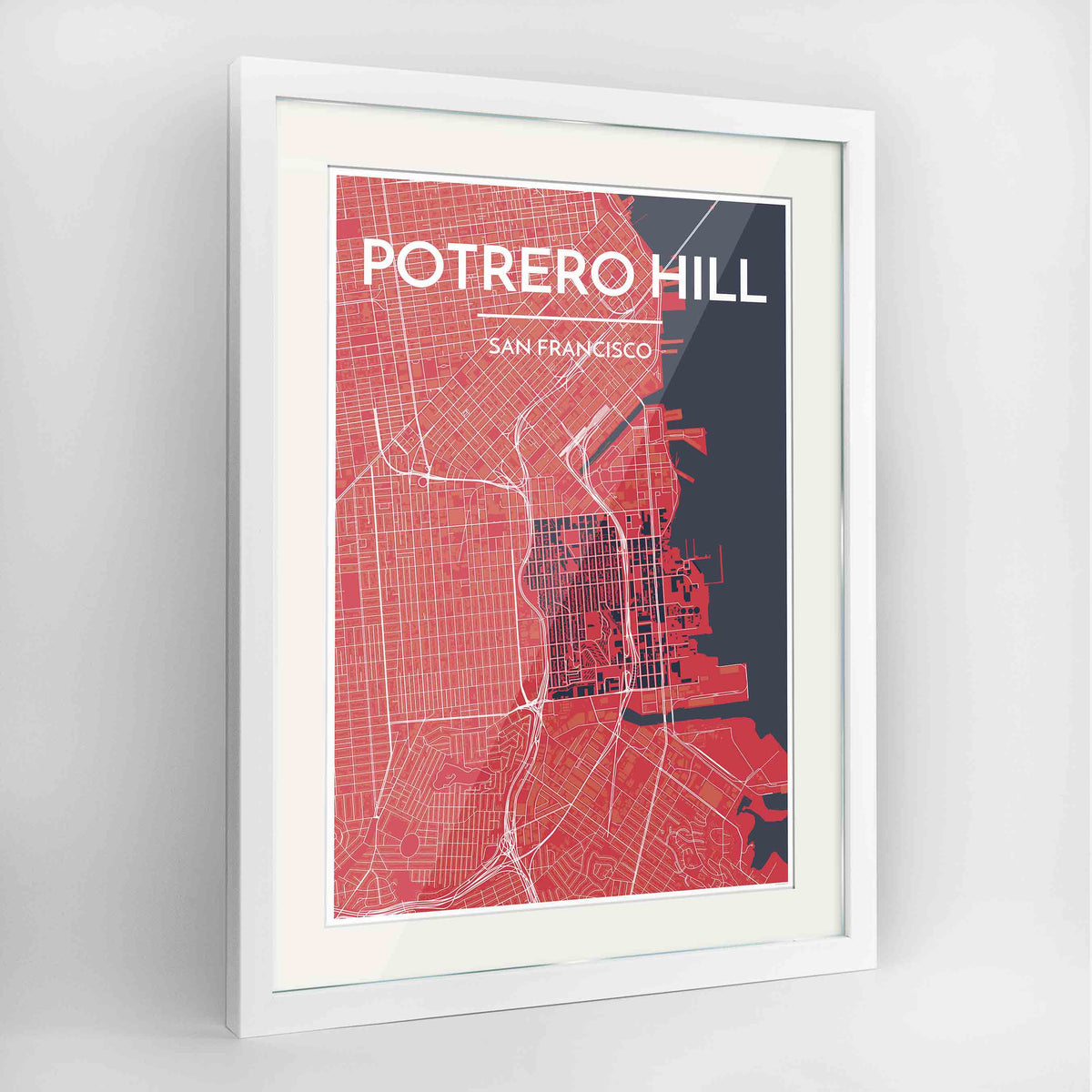 "Framed Potrero Hill San Francisco Map Art Print 24x36"" Contemporary White frame Point Two Design Group"