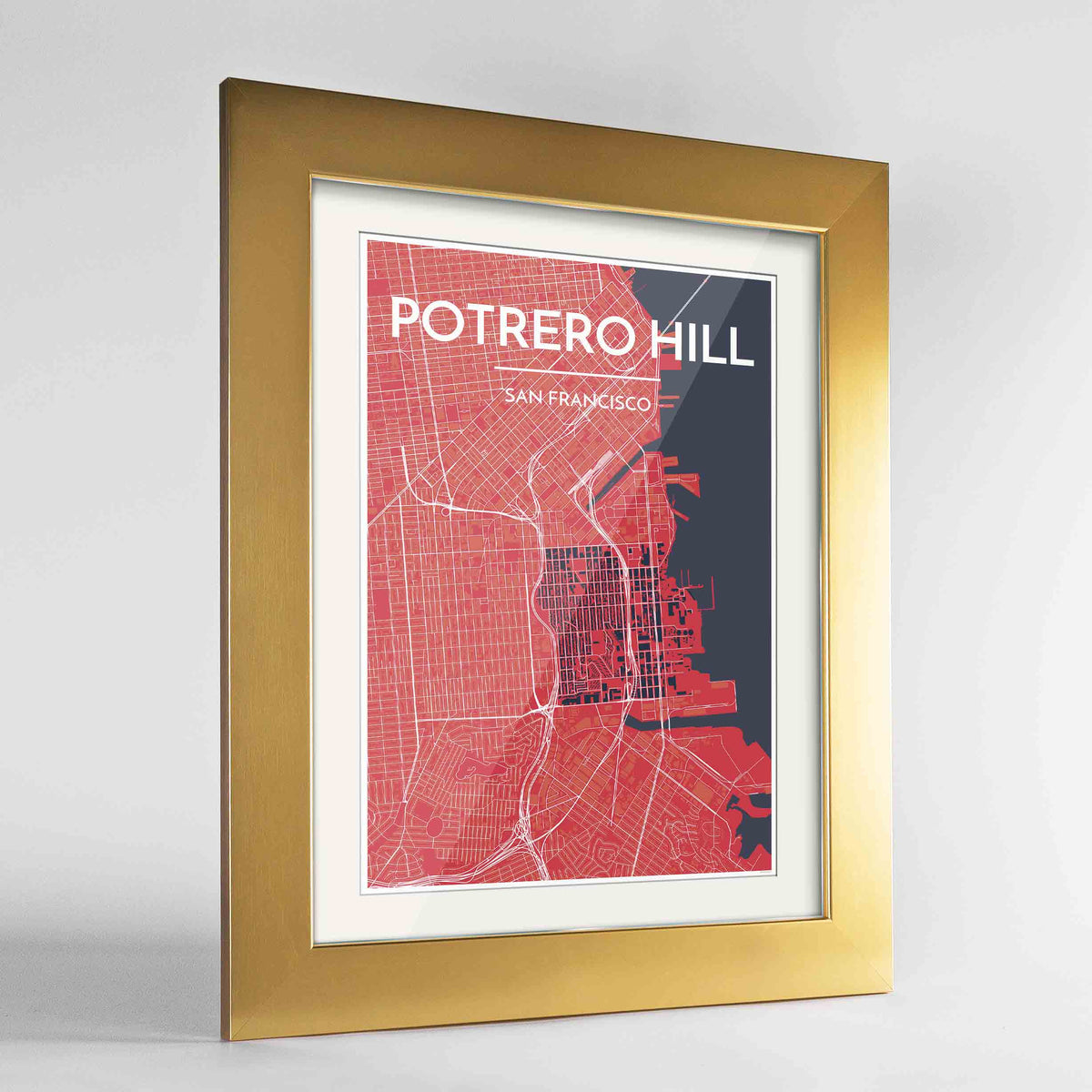 "Framed Potrero Hill San Francisco Map Art Print 24x36"" Gold frame Point Two Design Group"