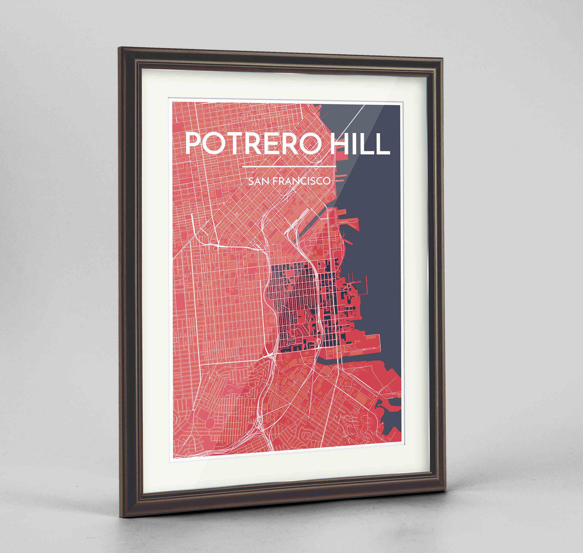 "Framed Potrero Hill San Francisco Map Art Print 24x36"" Traditional Walnut frame Point Two Design Group"